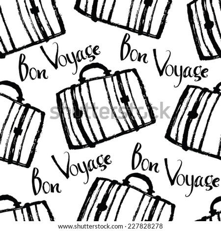 Bon Voyage Background with suitcases - stock vector