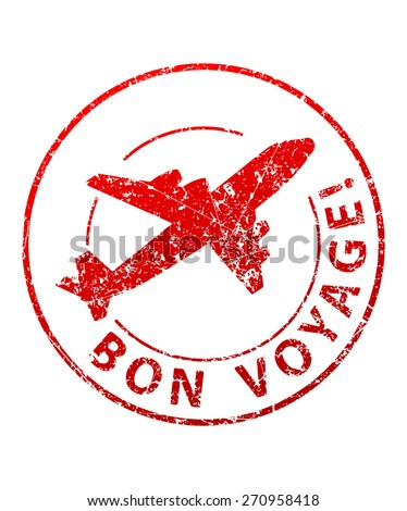 Bon voyage rubber stamp - stock vector