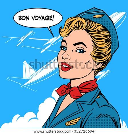 Bon voyage stewardess airplane travel tourism pop art retro style. Business concept success. Aviation transportation and flights - stock vector