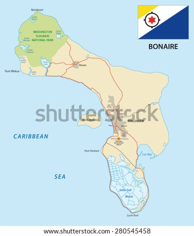 bonaire road map with flag