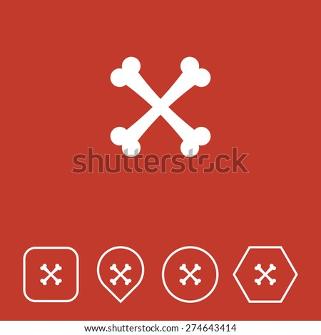 BONES Icon on Flat UI Colors with Different Shapes. Eps-10. - stock vector