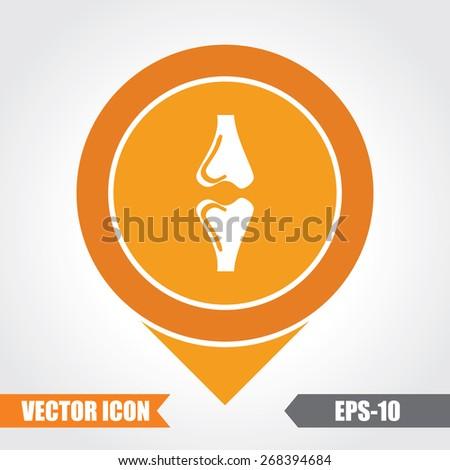 Bones  Icon On Map Pointer. Eps.-10. - stock vector