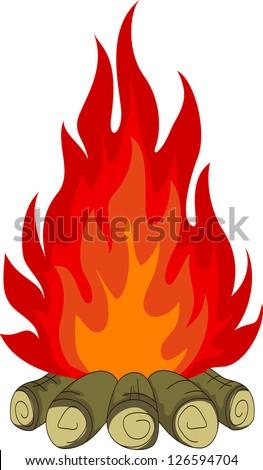 bonfire - stock vector