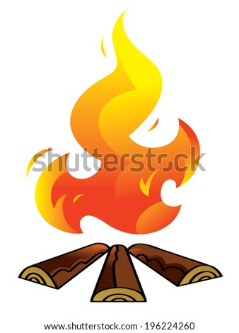 Bonfire - firewood and burning fire, hot flame - stock vector