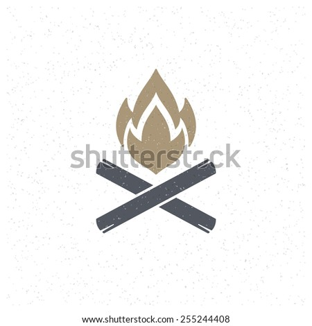 Bonfire flame Design Element in Vintage Style for Logotype, Label, Badge, T-shirts and other design. Campfire retro vector illustration. - stock vector