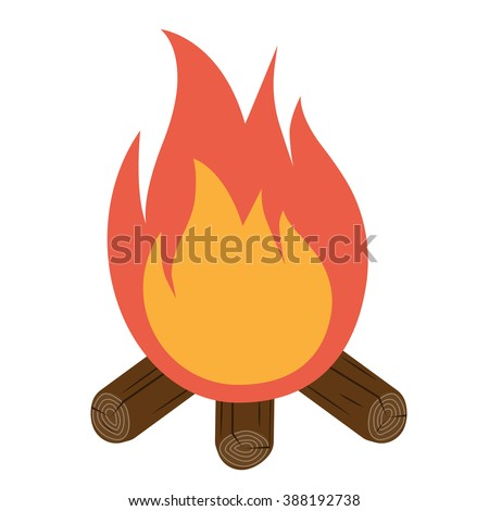 Bonfire icon vector. Campfire icon. Burning bonfire isolated on white background. Flame vector. Vector illustration flat design style. Burning fire with wood. Camping. - stock vector