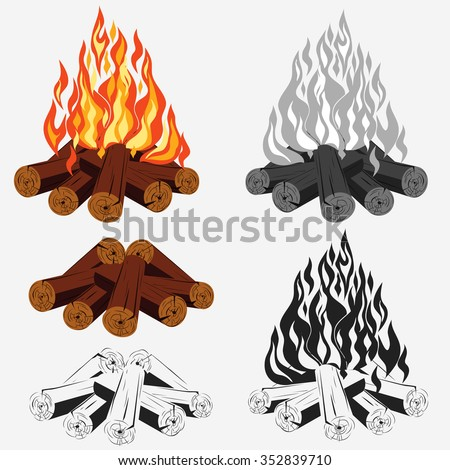 Bonfire set - camping, burning woodpile - campfire - fireplace. Vector fire color web image