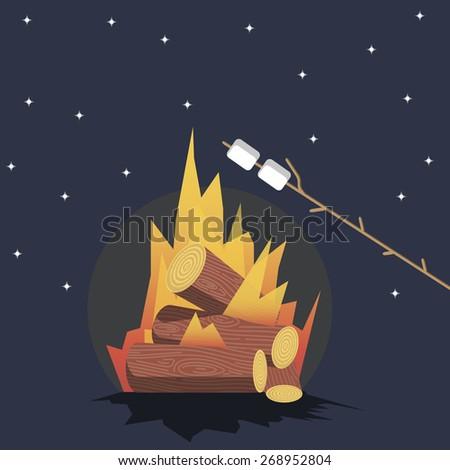 Bonfire with marshmallow - stock vector