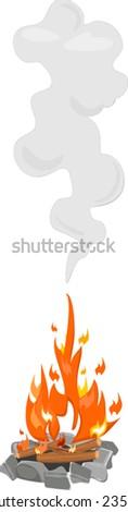 Bonfire with smoke - stock vector