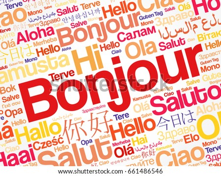 Bonjour hello greeting french word cloud stock vector royalty free bonjour hello greeting in french word cloud in different languages of the world m4hsunfo