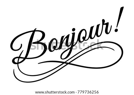 bonjour sign vector illustration beautiful typography stock vector rh shutterstock com Eiffel Tower Clip Art Paris Themed Background Clip Art