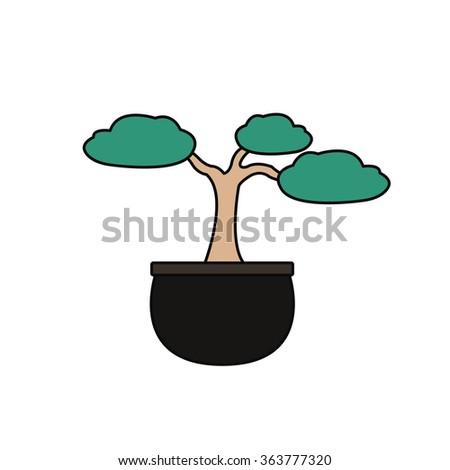 bonsai tree icon. vector illsutration - stock vector