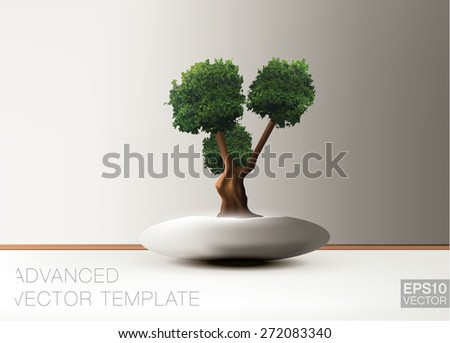 Bonsai tree. Vector template - stock vector