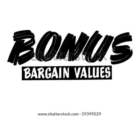 Bonus Bargain Values - Ad Header - Retro Clip Art