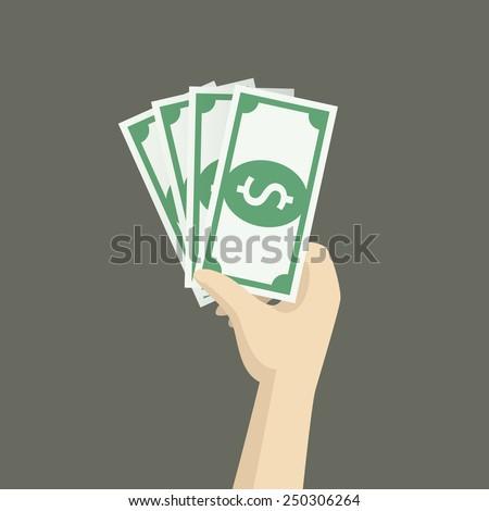 bonus money in hand illustration, vector - stock vector