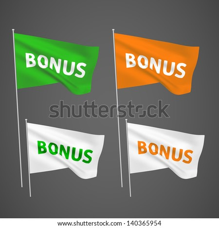 Bonus - 4 vector flags. A set of wavy 3D flags created using gradient meshes. EPS 8 vector - stock vector
