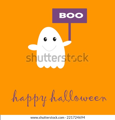 Boo for Halloween with cute ghost - stock vector