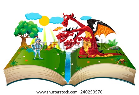 Book about knight and dragon - stock vector