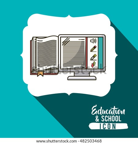 Book and computer inside frame icon. School education learning and study theme. Vector illustration