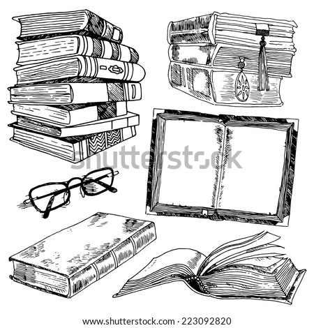 Book and glasses library collection black sketch decorative icons set isolated vector illustration