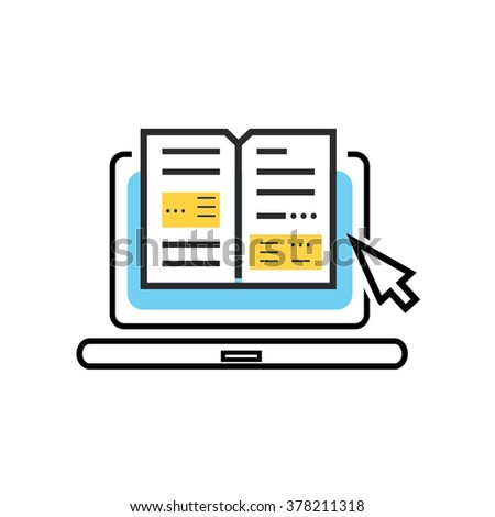 Book and laptop logo. Online book, digital library concept. Laptop computer with book inside. Isolated logo book laptop icon. E-learning internet labrary. Education vector illustration. Thin line icon - stock vector