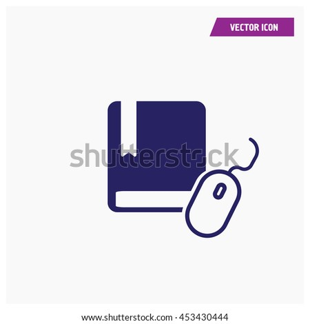 book and mouse icon - stock vector