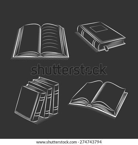 Book and notebook sketch set on black background - stock vector