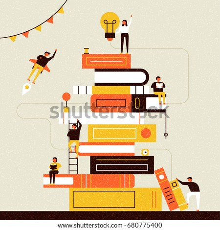 book and people poster vector illustration flat design