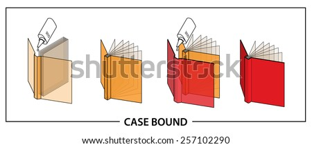 Book binding technique: case bound. - stock vector
