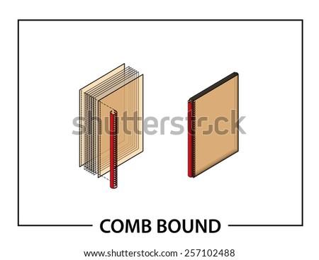 Book binding technique: comb bound. - stock vector