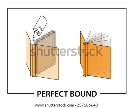 Book binding technique: perfect bound. - stock vector