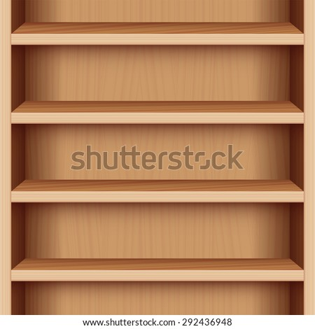 Book case with wood grain - can be endlessly extended upwards and downwards. Vector illustration.
