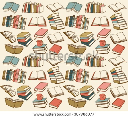 Book collection seamless vector pattern