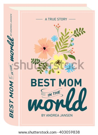 book cover mother's day greeting card template vector/illustration - stock vector