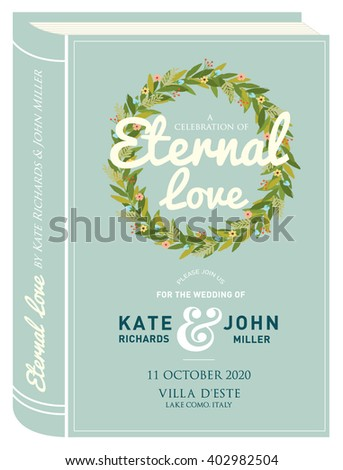 book cover wedding invitation card template vector/illustration - stock vector