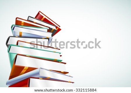 Book 3d vector illustration isolated on white. Back to school. Education, university, college symbol or knowledge,books stack,publish, books page paper. Books stack. Books isolated. Books vector icons - stock vector