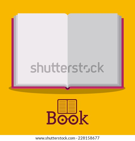 Book design over yellow background,vector illustration