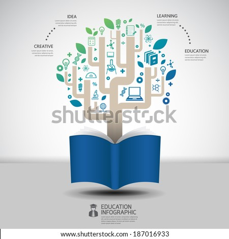 book diagram creative paper cut style infographic concept design template graphic