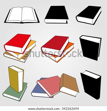 Book Icon And Sign Vector Set - stock vector