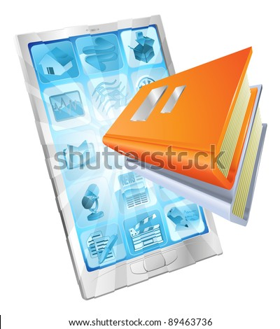 Book icon coming out of phone screen concept for ebooks, reader apps,  online database, elearning. - stock vector