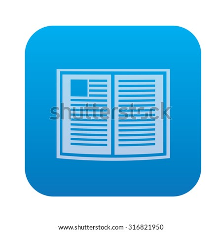 Book icon on blue background,clean vector