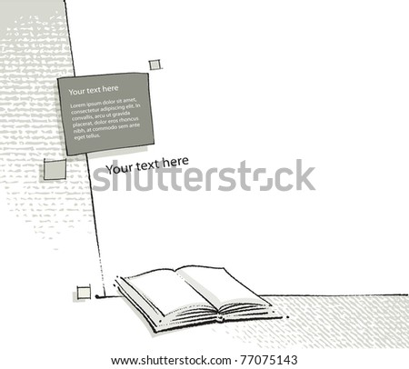 book icon page layout (freehand drawing elements, vector) - stock vector