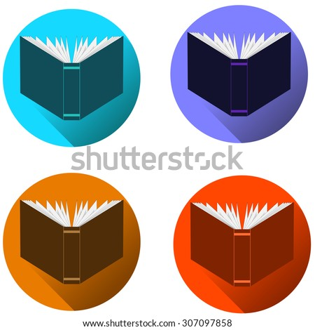 Book icon set. Flat design style modern vector illustration. Isolated on stylish color background. Flat long shadow icon. Elements in flat design. - stock vector