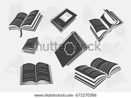 book icon set different perspective opened stock vector royalty