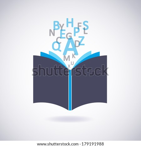 Book icon with Letters. Vector Illustration - stock vector