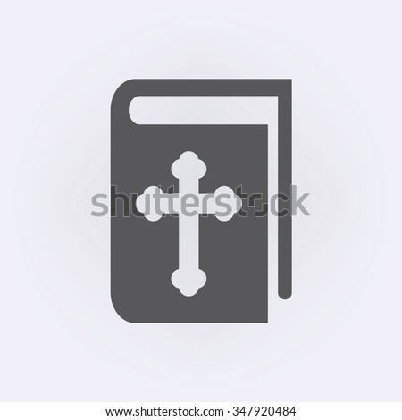 Book icon with religion cross . Holy Bible icon . Vector illustration - stock vector