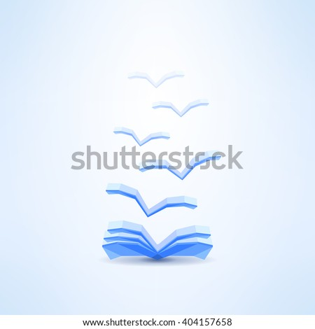 Book icon with seagulls made in low poly design. Book reader icon. Books application ad design. Opened book. Learning, library and dreaming concept. - stock vector