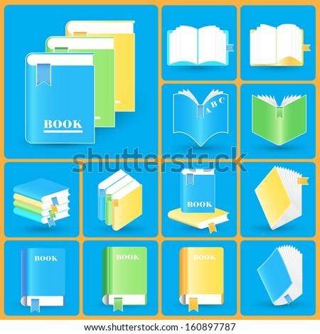 Book Icons collection. Vector icon set
