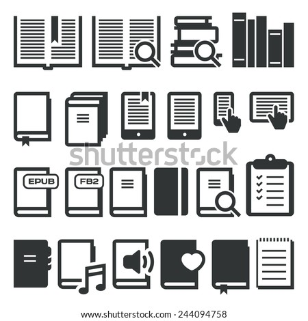 Book icons, e-book, reading on different devices. Vector icons - stock vector