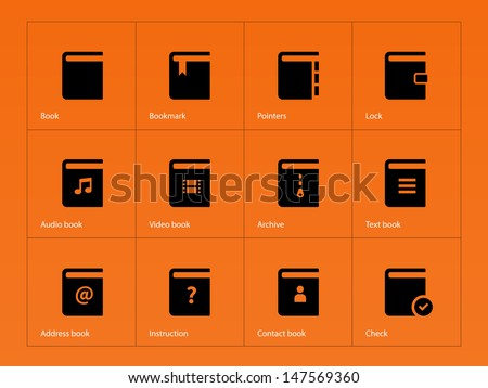 Book icons on orange background. Vector illustration. - stock vector
